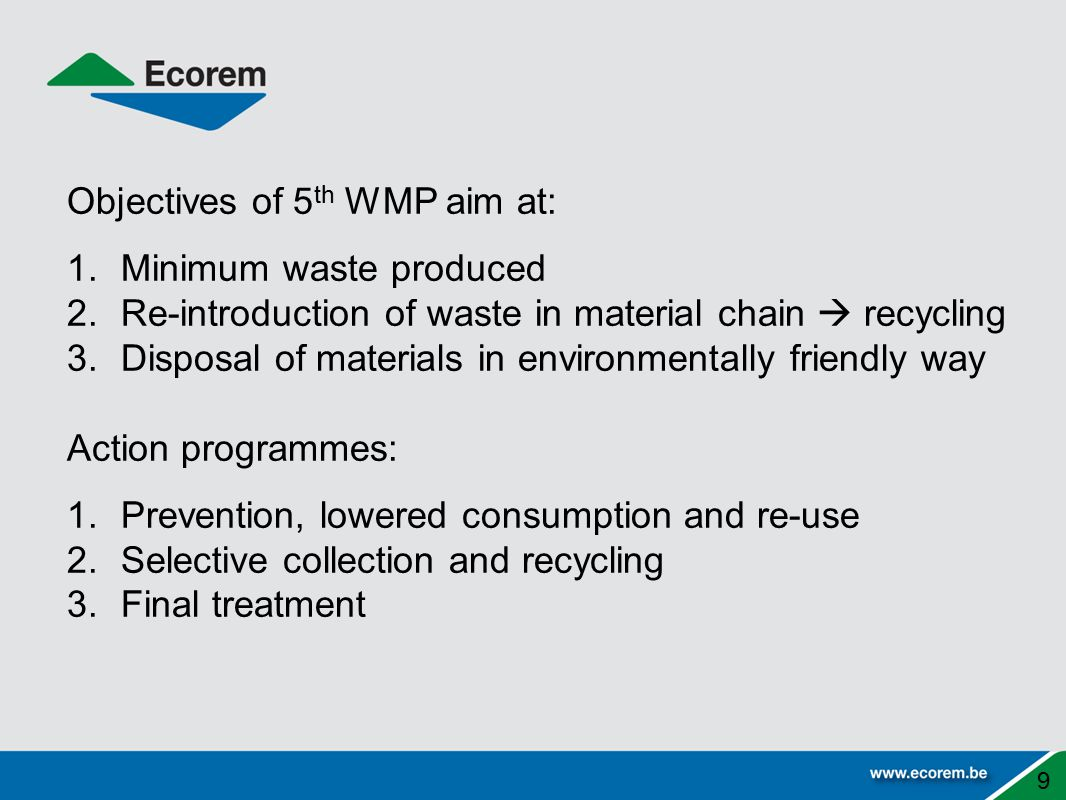 Objectives of 5th WMP aim at: Minimum waste produced