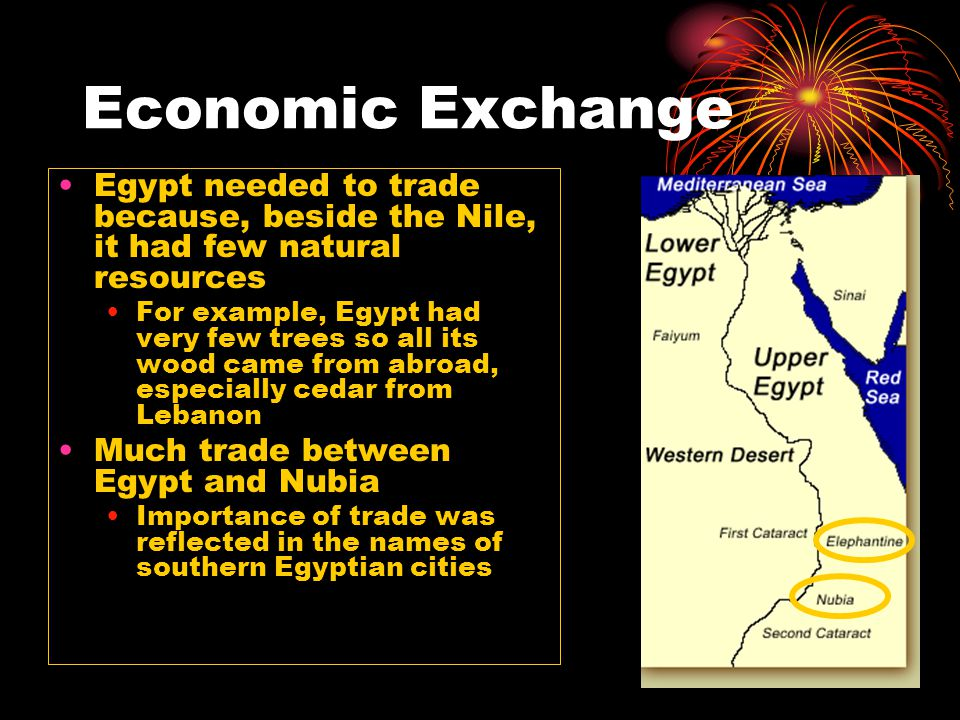 Economic Exchange Egypt needed to trade because, beside the Nile, it had few natural resources.