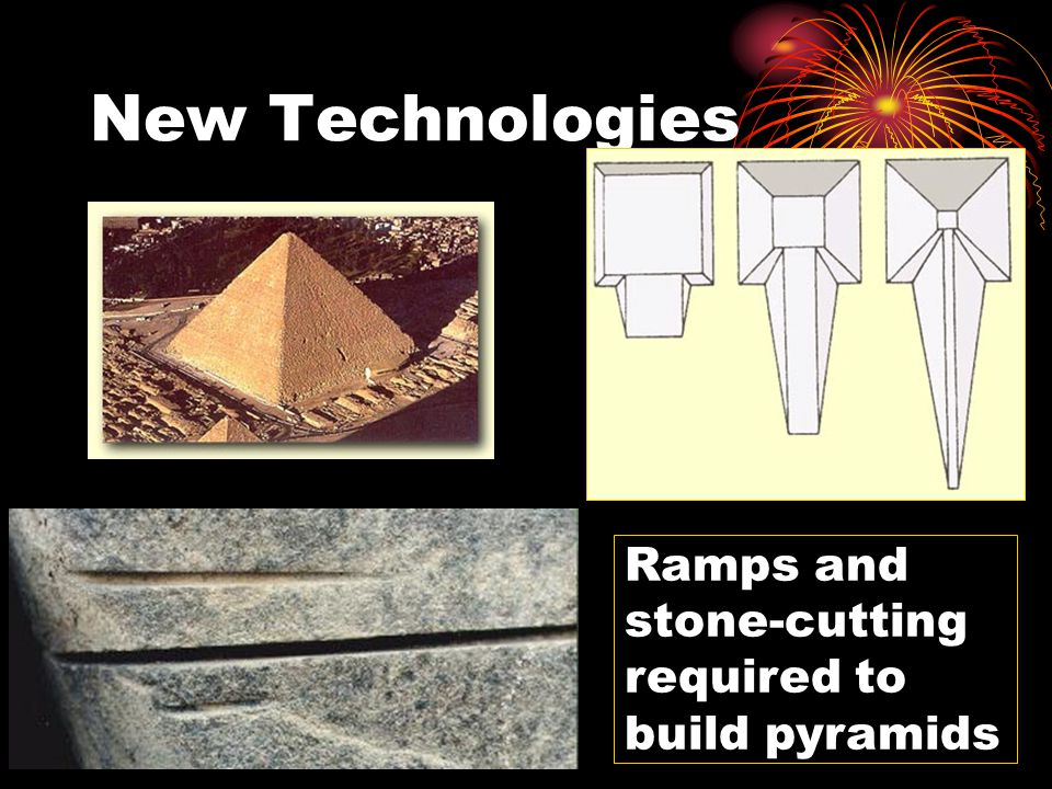 New Technologies Ramps and stone-cutting required to build pyramids
