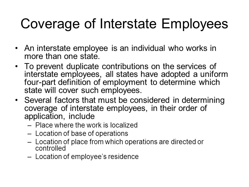 Coverage of Interstate Employees