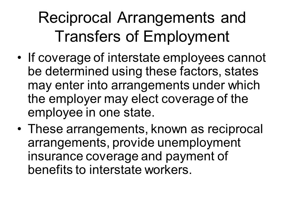 Reciprocal Arrangements and Transfers of Employment
