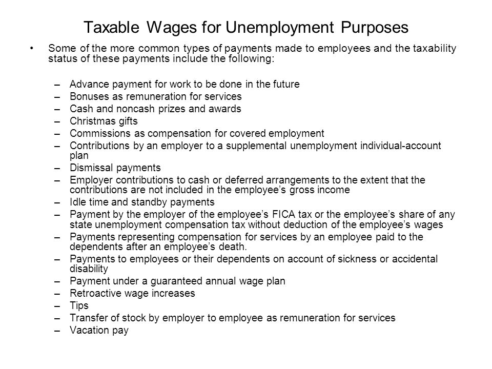 Taxable Wages for Unemployment Purposes