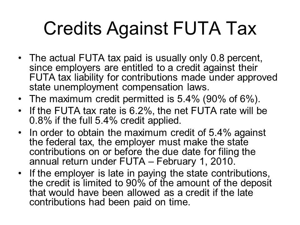 Credits Against FUTA Tax