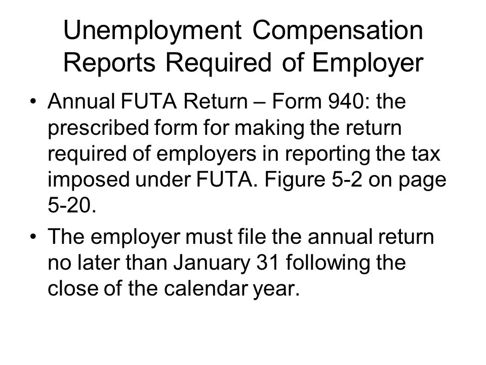 Unemployment Compensation Reports Required of Employer