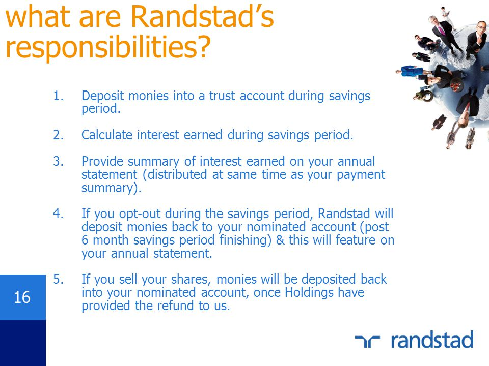 what are Randstad's responsibilities