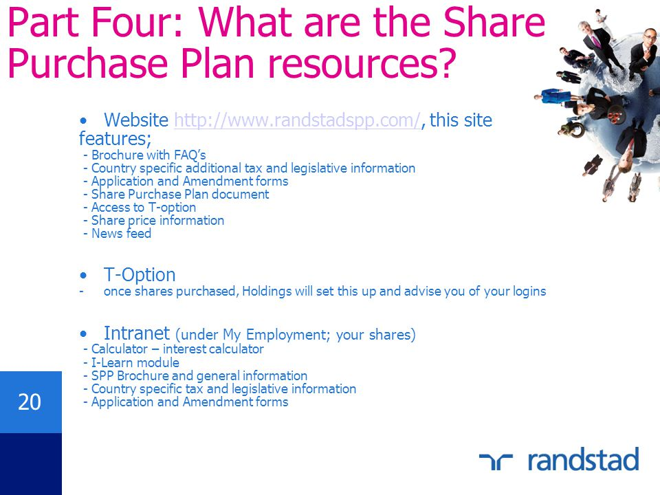 Part Four: What are the Share Purchase Plan resources