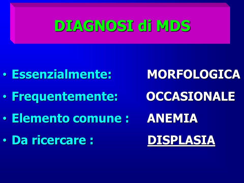 DIAGNOSI di MDS Essenzialmente: MORFOLOGICA
