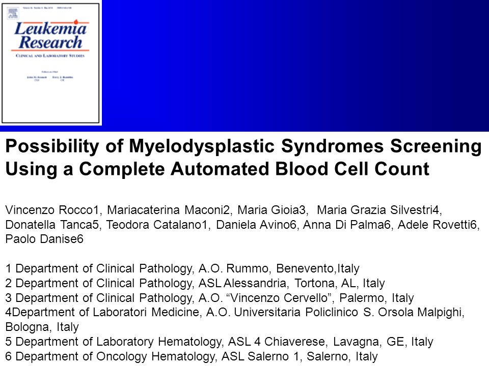 Possibility of Myelodysplastic Syndromes Screening Using a Complete Automated Blood Cell Count