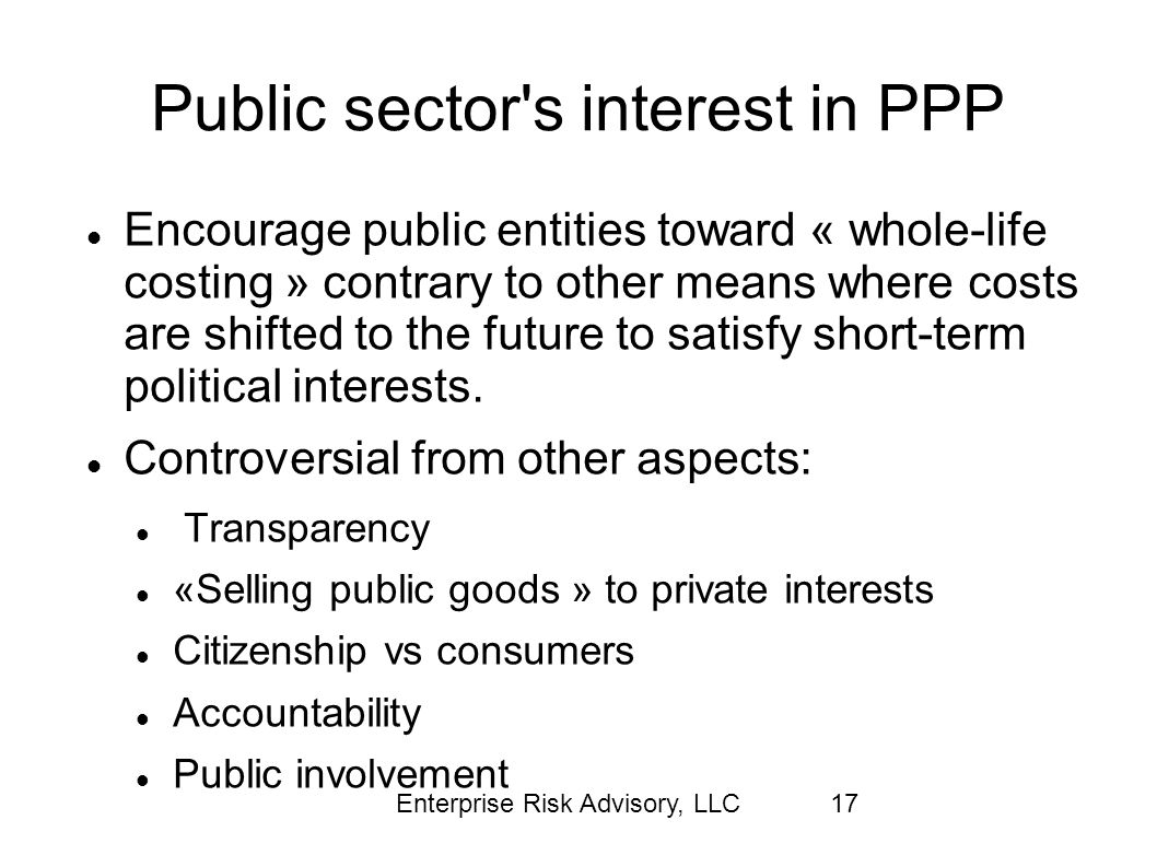 Public sector s interest in PPP