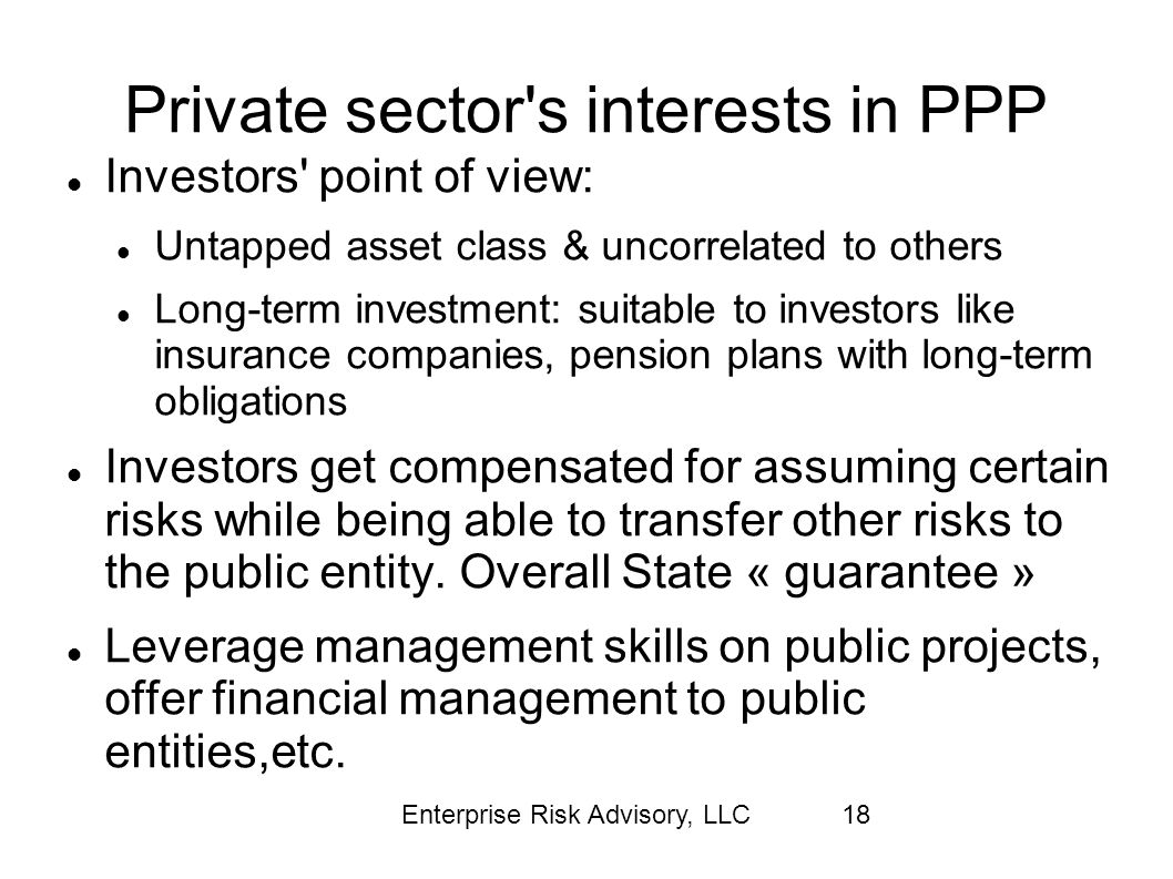 Private sector s interests in PPP