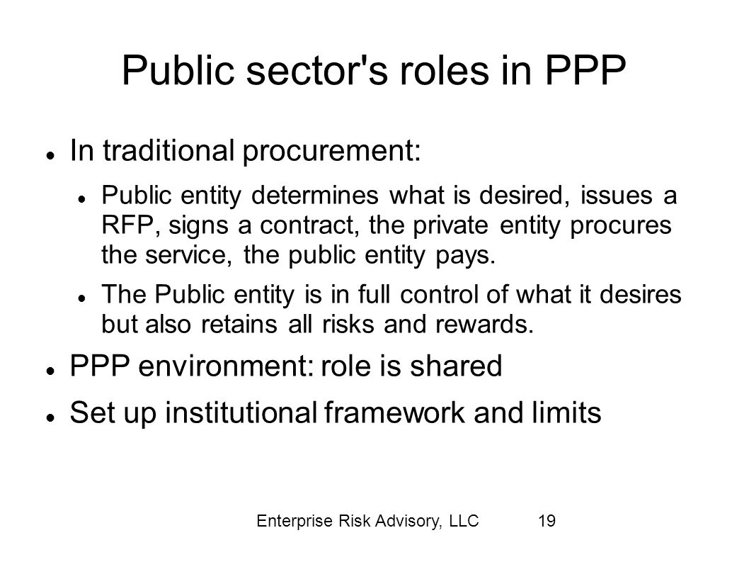 Public sector s roles in PPP