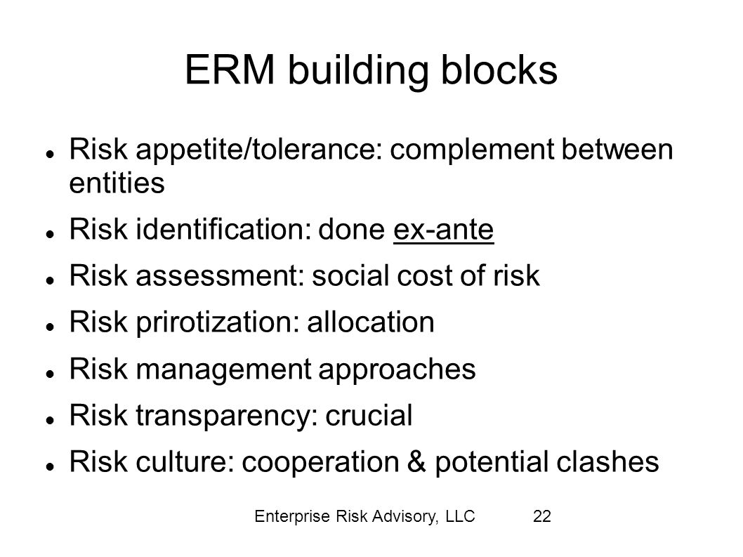 ERM building blocks Risk appetite/tolerance: complement between entities. Risk identification: done ex-ante.