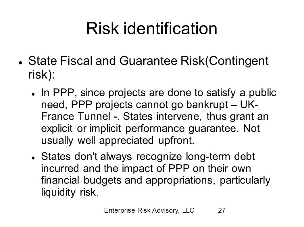 Risk identification State Fiscal and Guarantee Risk(Contingent risk):