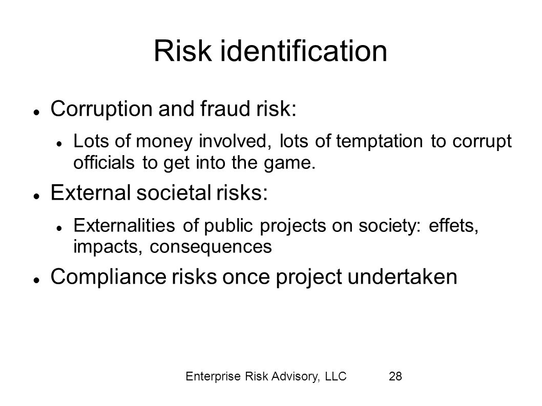 Risk identification Corruption and fraud risk:
