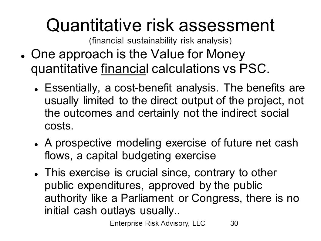 Quantitative risk assessment (financial sustainability risk analysis)