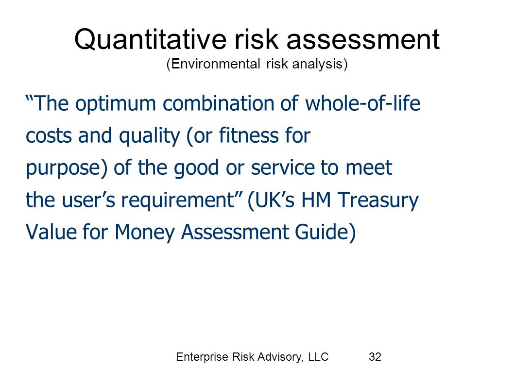 Quantitative risk assessment (Environmental risk analysis)