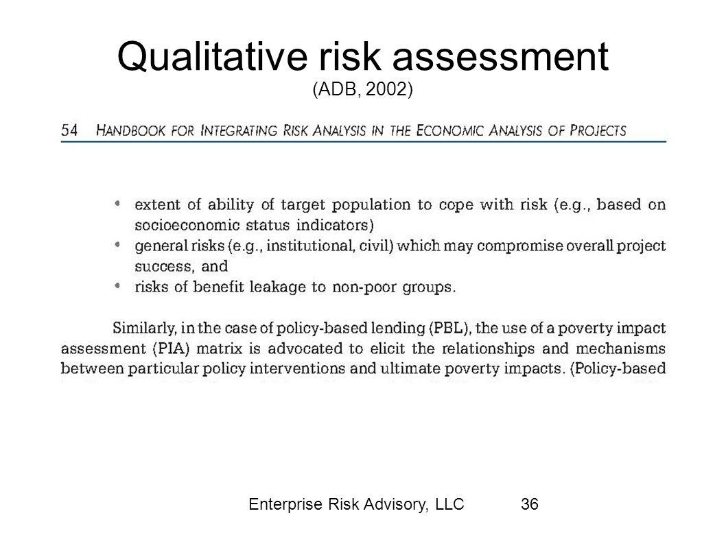 Qualitative risk assessment (ADB, 2002)