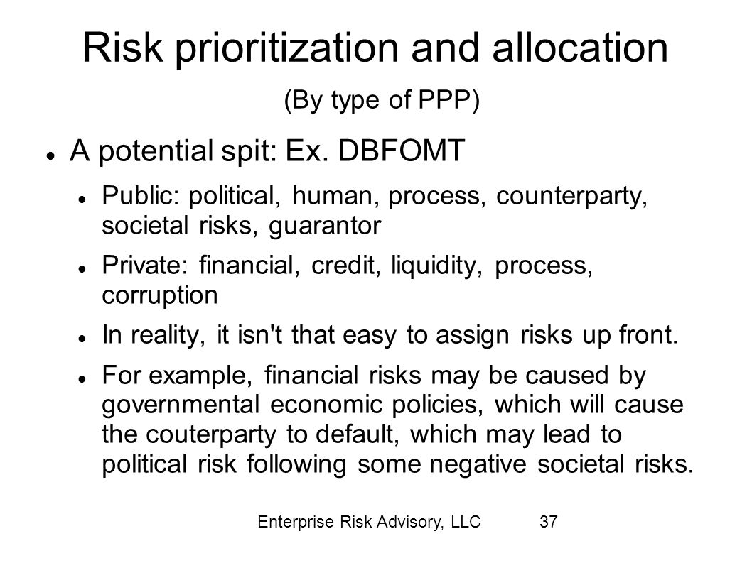Risk prioritization and allocation (By type of PPP)