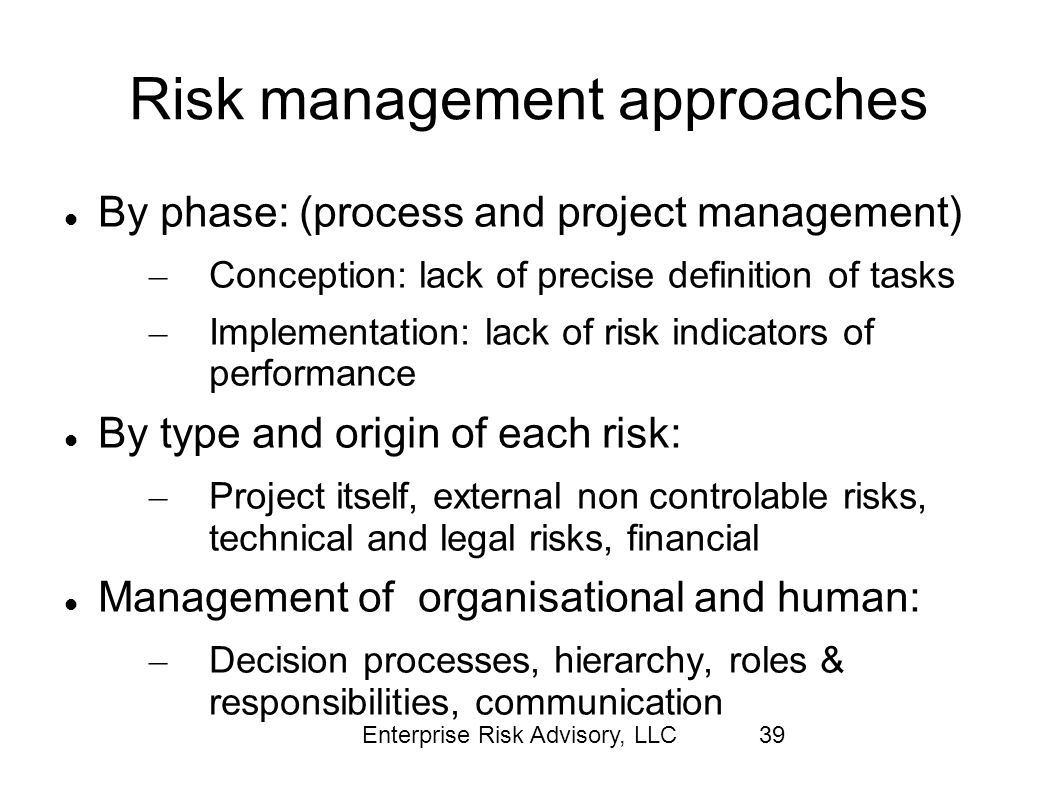 Risk management approaches