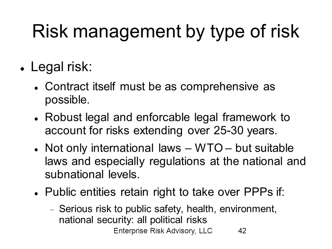 Risk management by type of risk