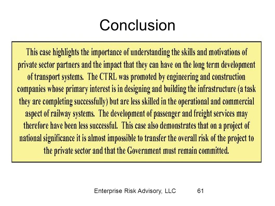 Conclusion Enterprise Risk Advisory, LLC