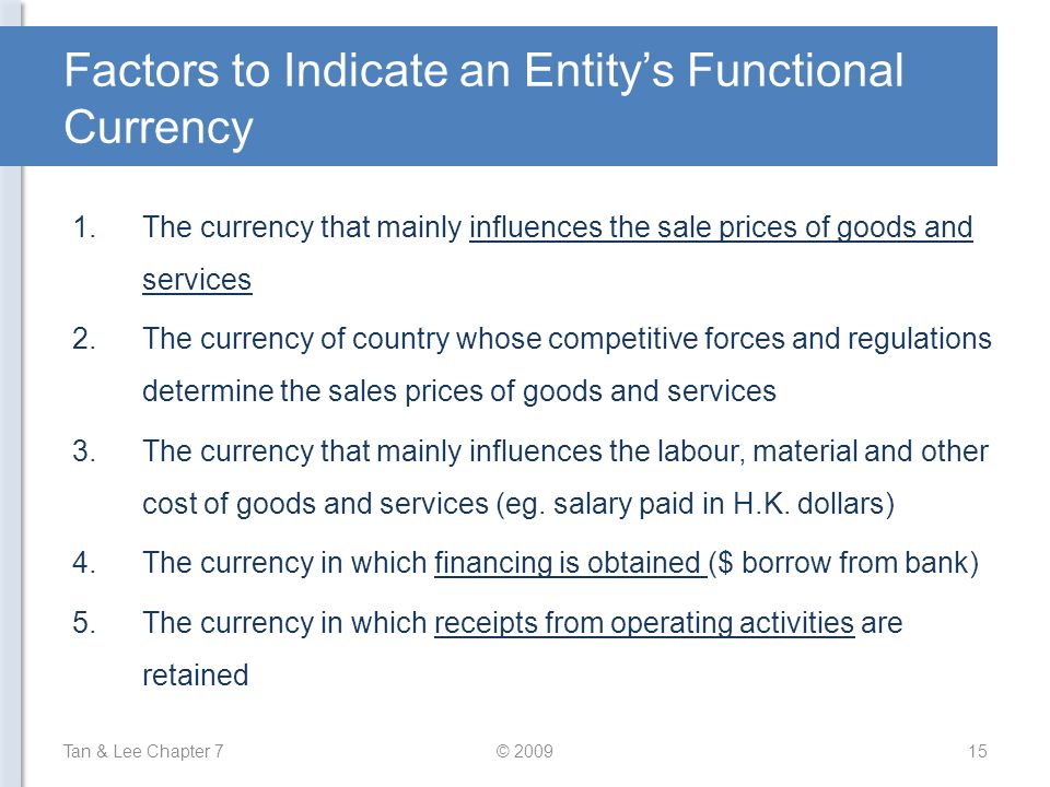 Factors to Indicate an Entity's Functional Currency