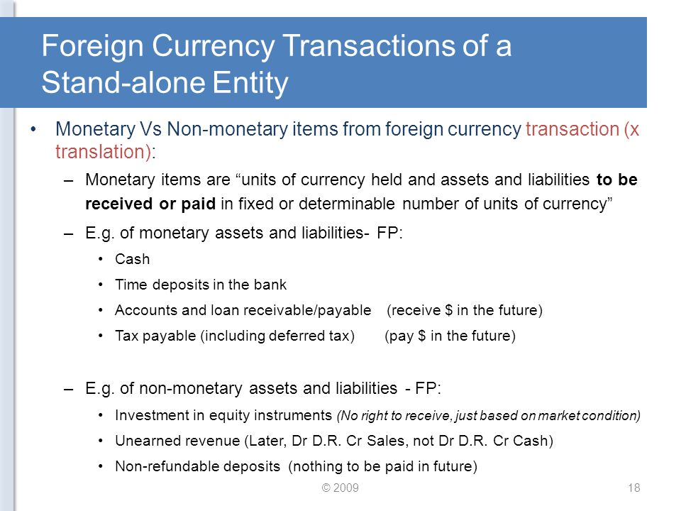 Foreign Currency Transactions of a Stand-alone Entity