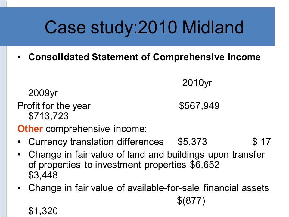 Case study:2010 Midland Consolidated Statement of Comprehensive Income