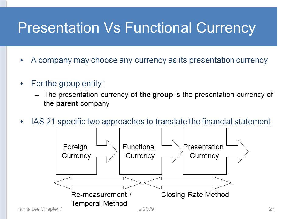 Presentation Vs Functional Currency