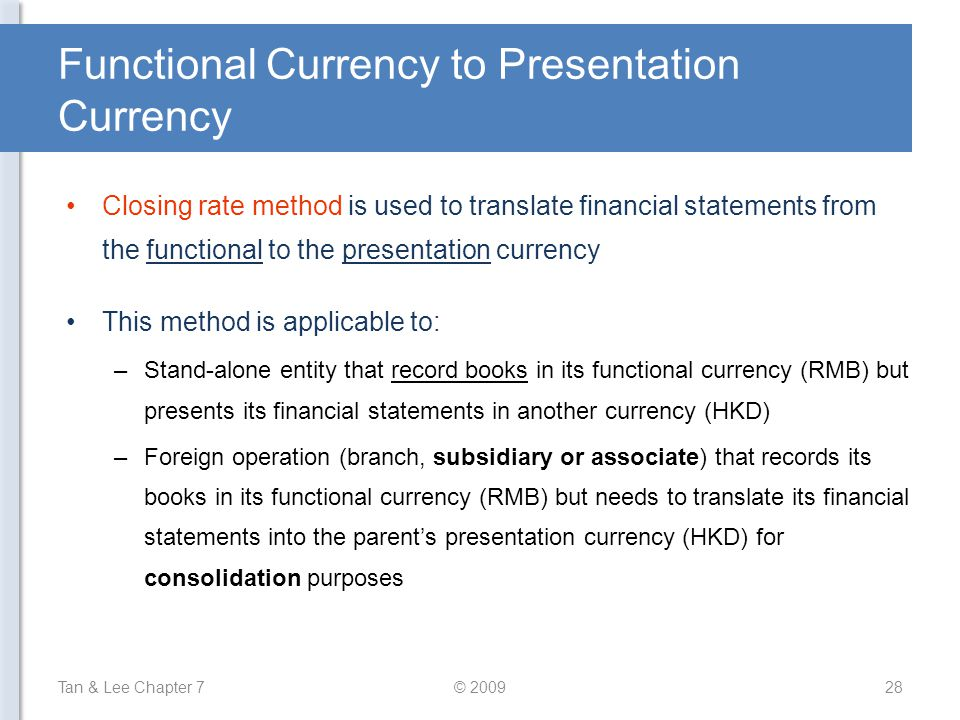 Functional Currency to Presentation Currency