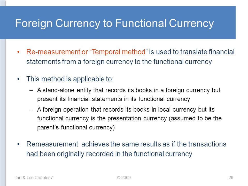 Foreign Currency to Functional Currency