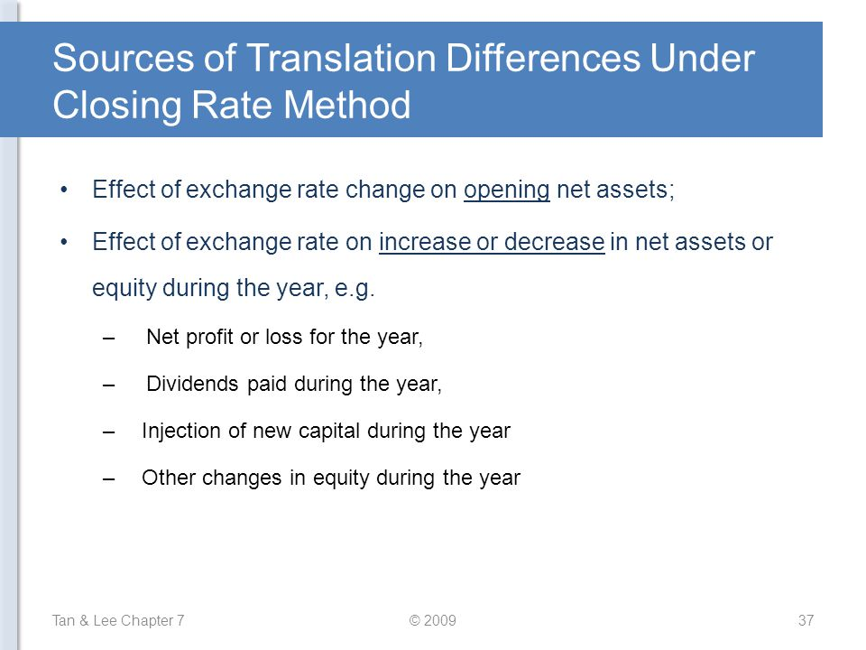Sources of Translation Differences Under Closing Rate Method