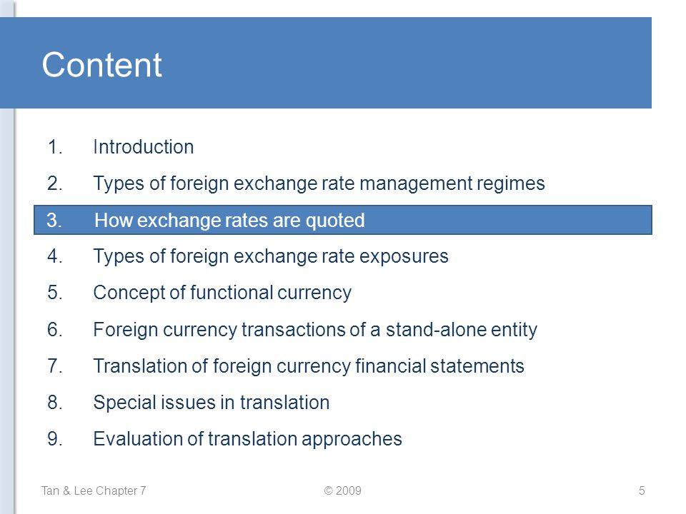 Content Introduction Types of foreign exchange rate management regimes