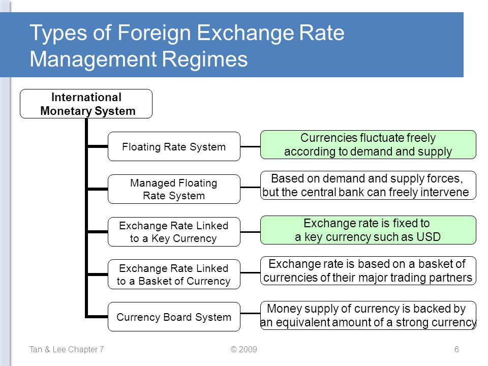 Types of Foreign Exchange Rate Management Regimes