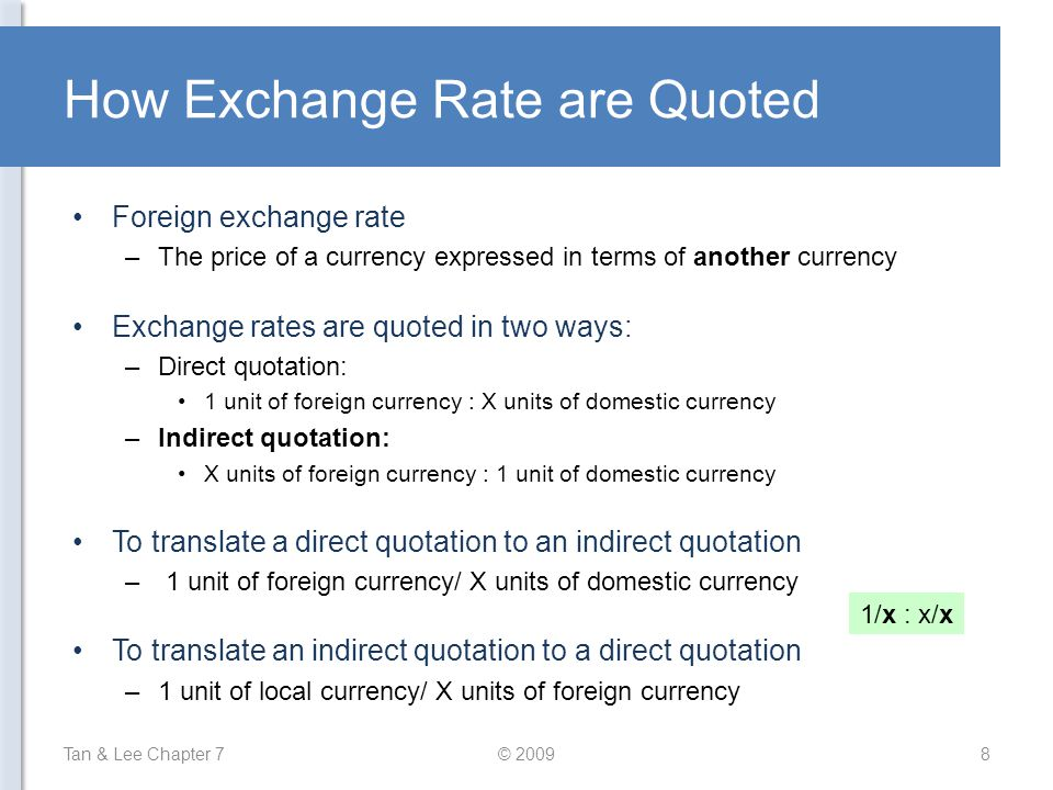 How Exchange Rate are Quoted
