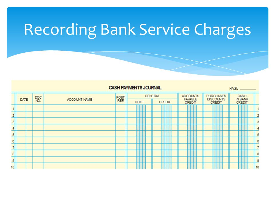Recording Bank Service Charges