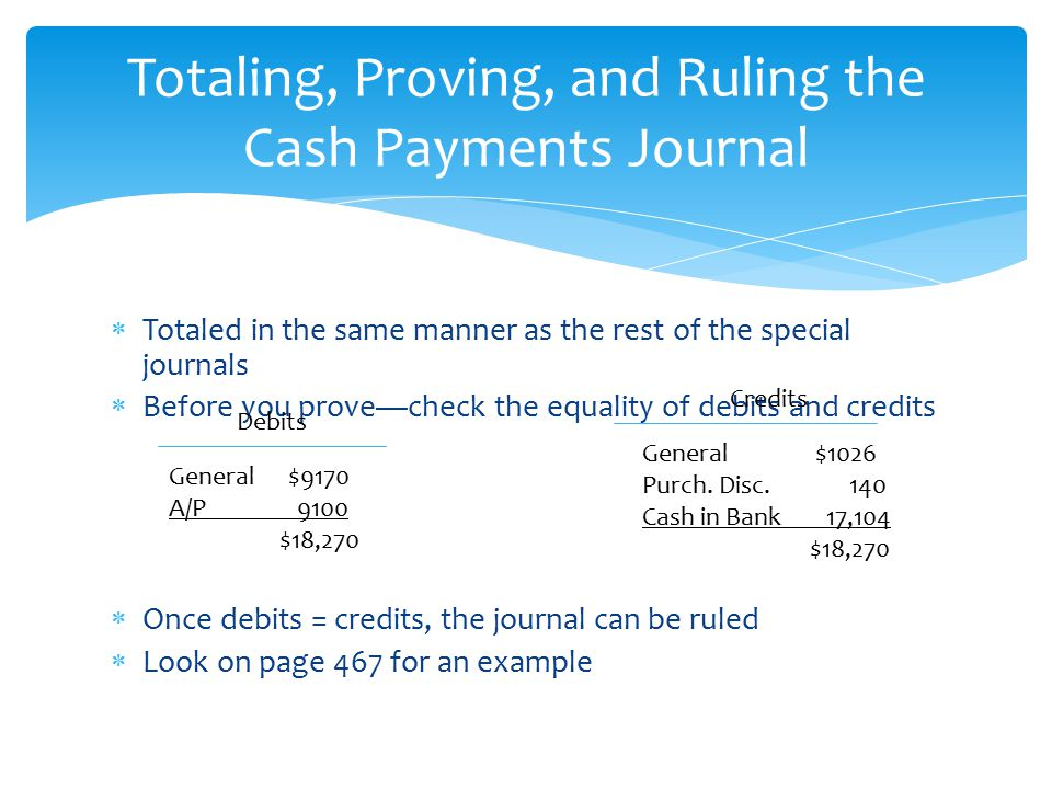 Totaling, Proving, and Ruling the Cash Payments Journal