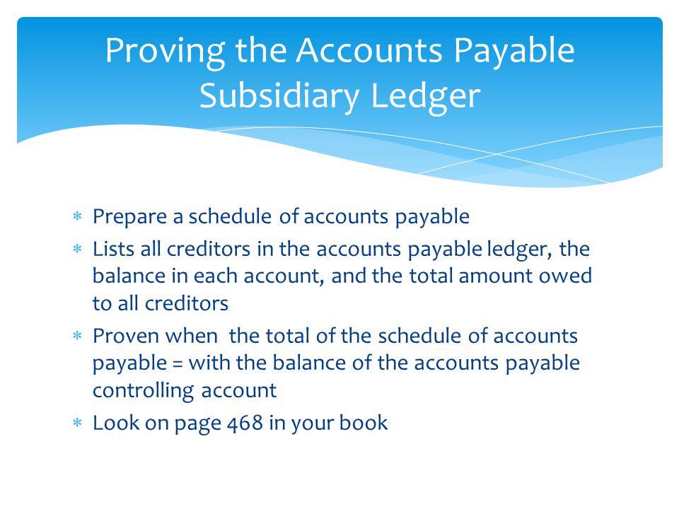 Proving the Accounts Payable Subsidiary Ledger