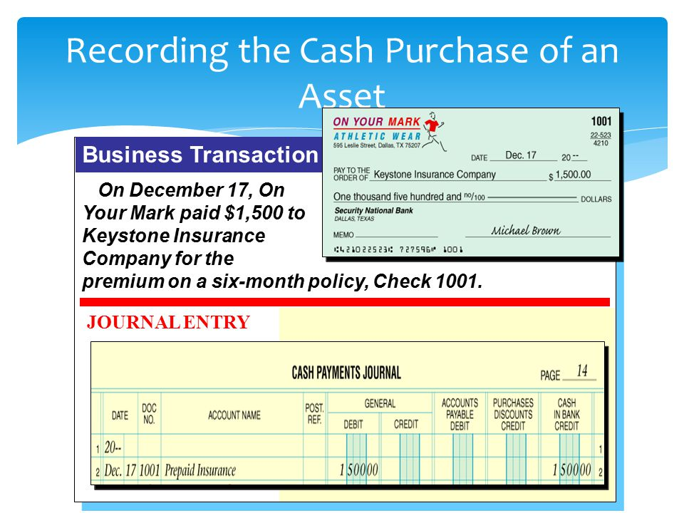 Recording the Cash Purchase of an Asset