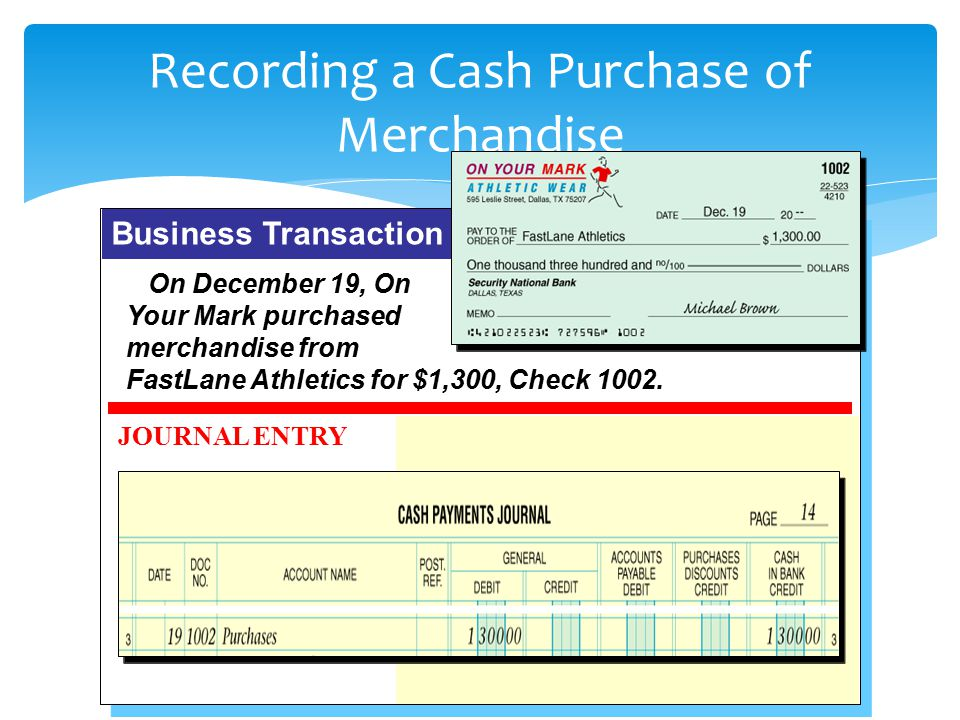 Recording a Cash Purchase of Merchandise
