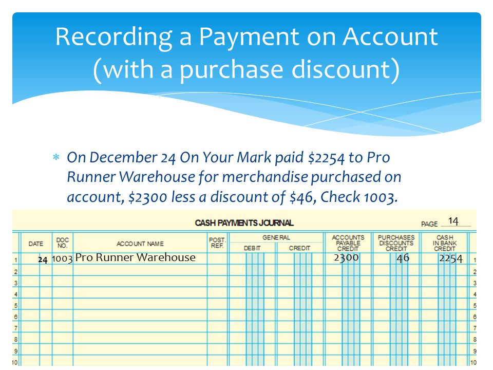 Recording a Payment on Account (with a purchase discount)