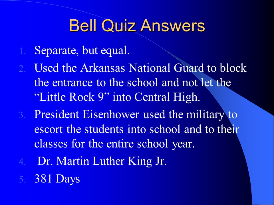 Bell Quiz Answers Separate, but equal.