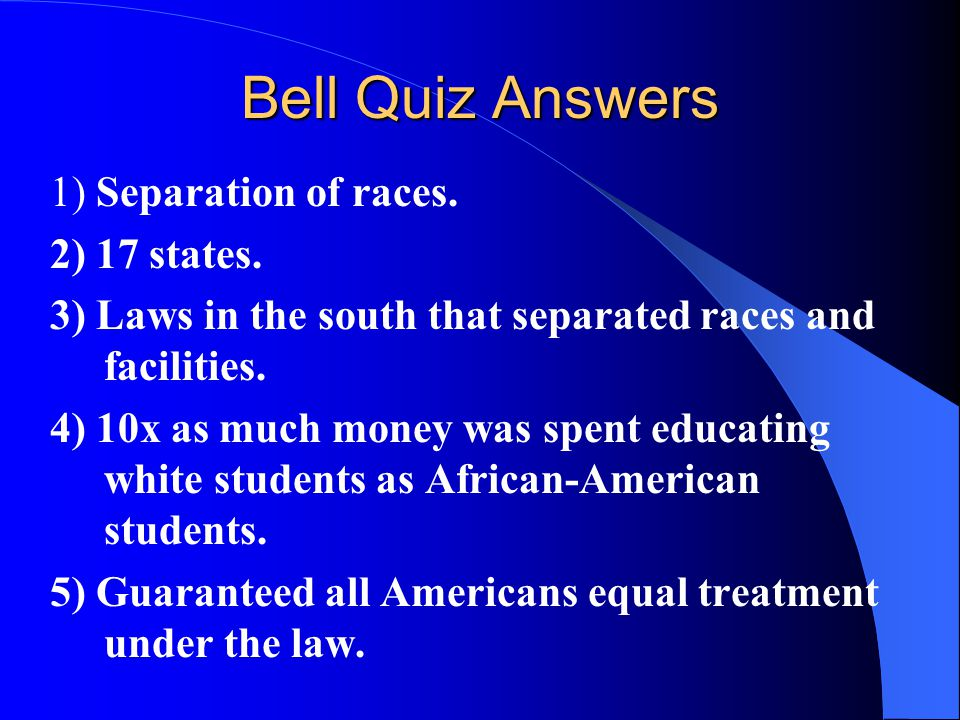 Bell Quiz Answers