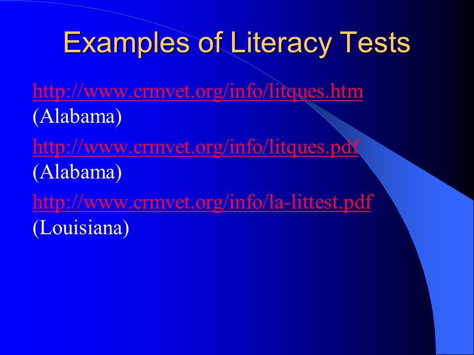 Examples of Literacy Tests