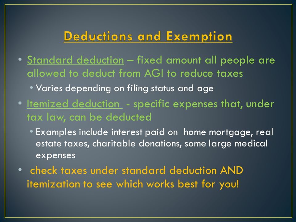 Deductions and Exemption