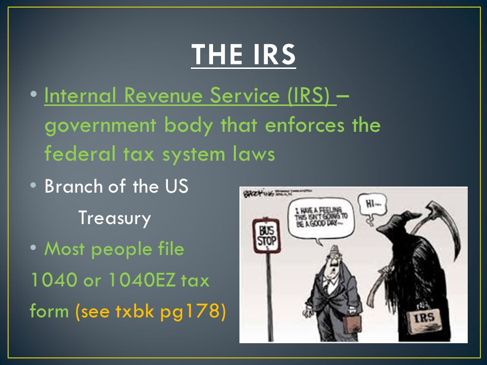 THE IRS Internal Revenue Service (IRS) – government body that enforces the federal tax system laws.