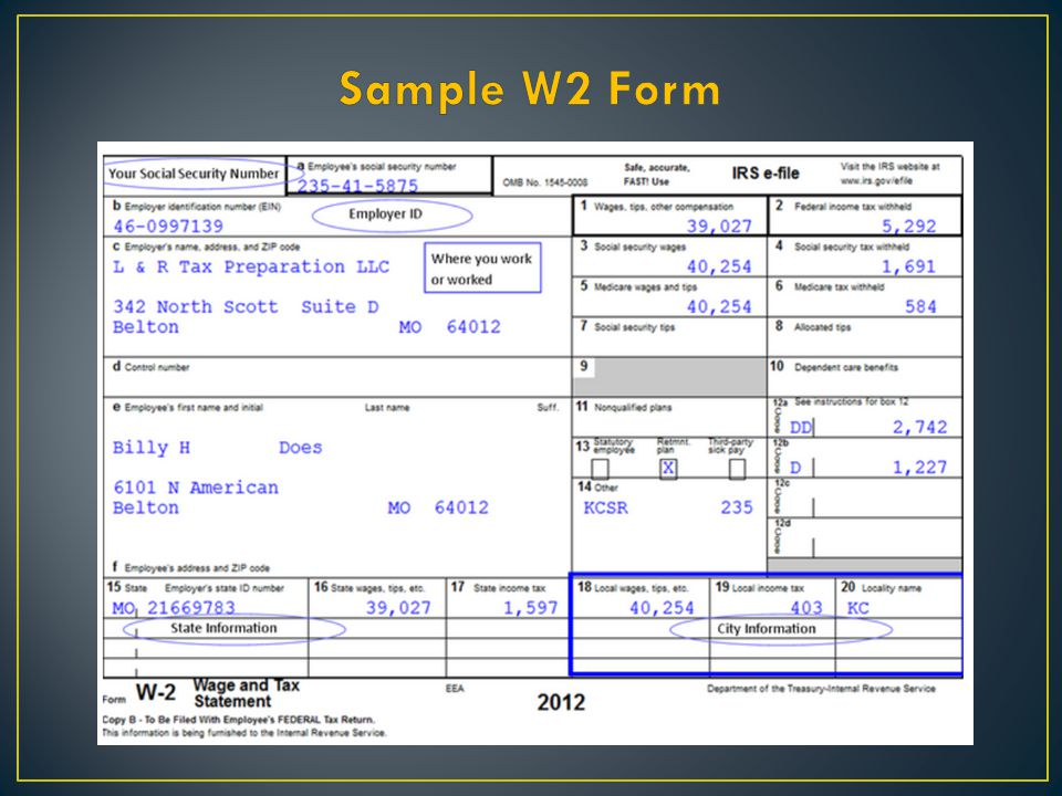 Sample W2 Form