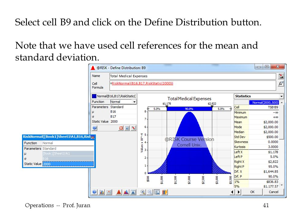 Select cell B9 and click on the Define Distribution button.