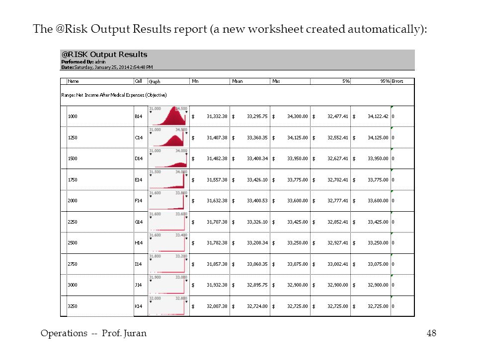 The @Risk Output Results report (a new worksheet created automatically):