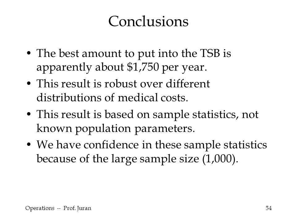 Conclusions The best amount to put into the TSB is apparently about $1,750 per year.